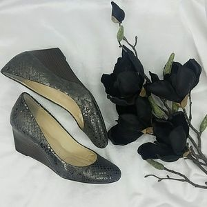 Calvin Klein Metallic Gunmetal Wedge Shoes